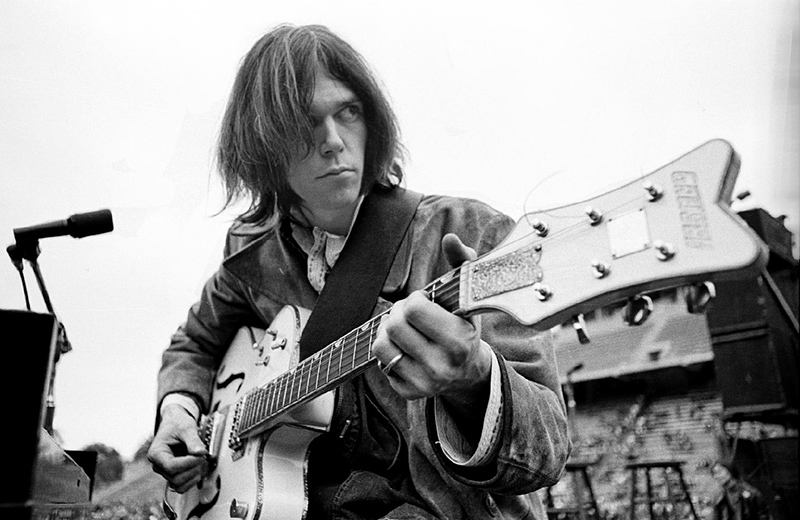 Neil Young with Gretsch White Falcon Guitar, San Diego, 1969