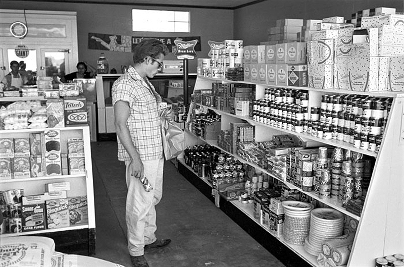 James Dean in a Local Grocery Store, While Making Giant, Marfa, TX, 1955