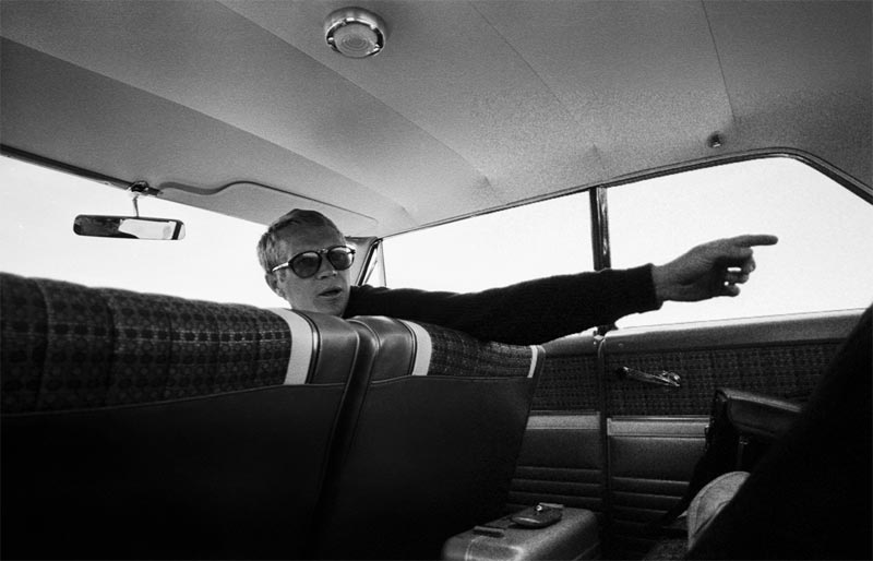 Steve McQueen Pointing, Inside a Ford Galaxie 500, Cotati, 1962