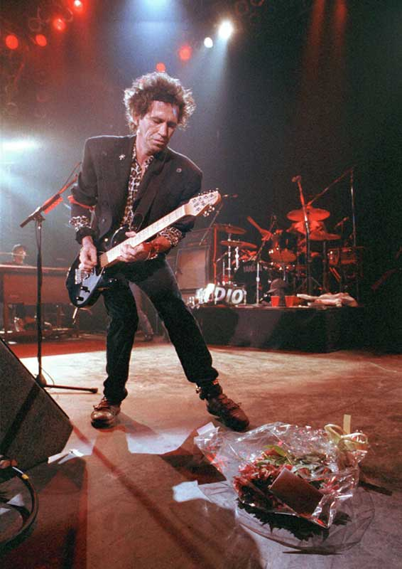 Keith Richards, Birthday Bouquet Onstage at the Forum, London, 2002