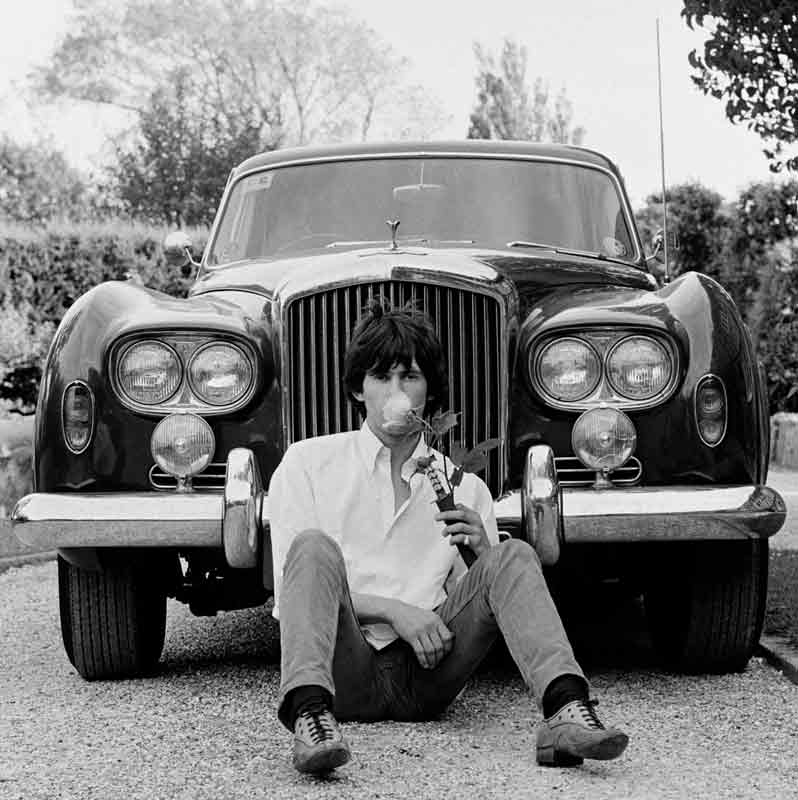 Keith Richards and Bentley with Rose and Dagger, West Sussex, 1966