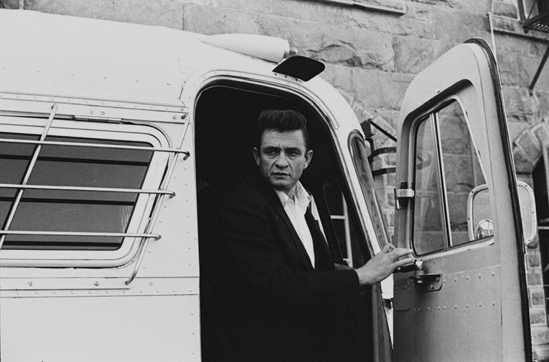 Johnny Cash Exiting Bus, Folsom Prison, 1968