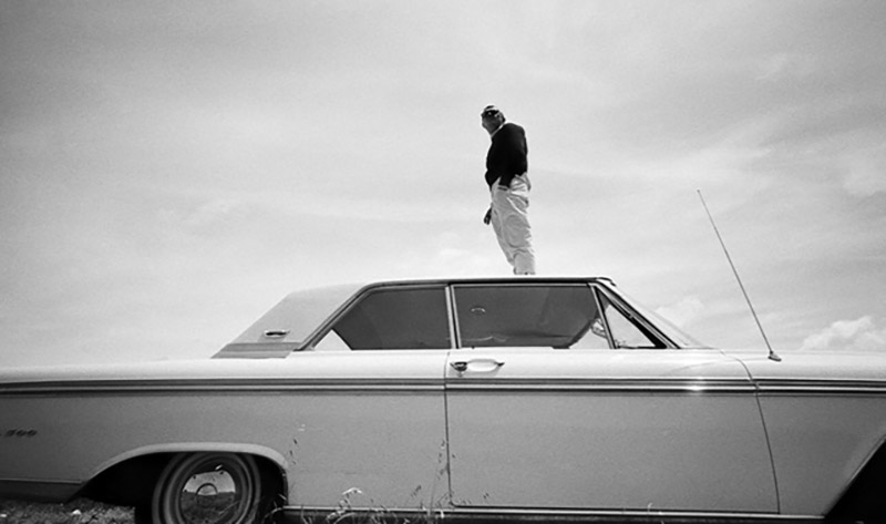 Steve McQueen Standing on the Roof of a Ford Galaxie 500, Cotati, CA, 1962