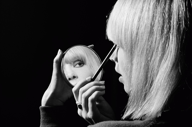 Anita Pallenberg Reflected in Makeup Mirror, London, 1967