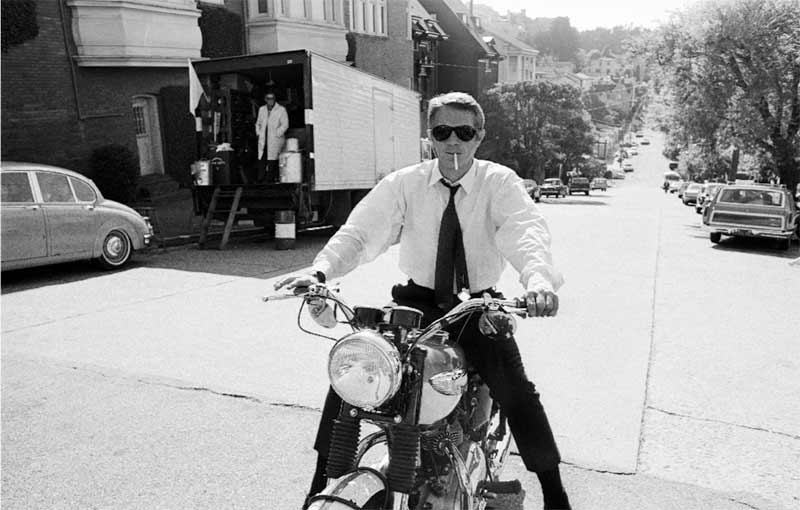 Steve McQueen on Triumph Motorcycle, on the Set of Bullitt, San Francisco, 1968