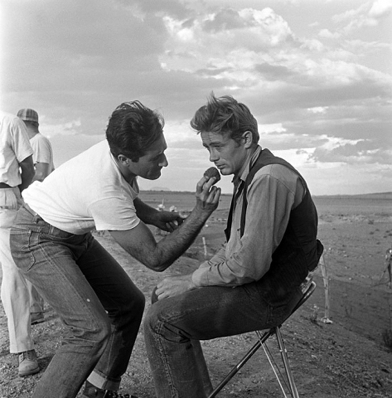 James Dean Behind The Scenes in Makeup Chair, on the Set of Giant, TX, 1955