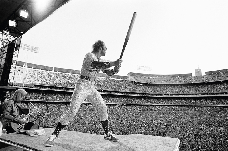 Elton John in Batting Stance, Dodger Stadium, 1975