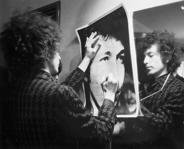 Bob Dylan with Poster, Paris, 1966