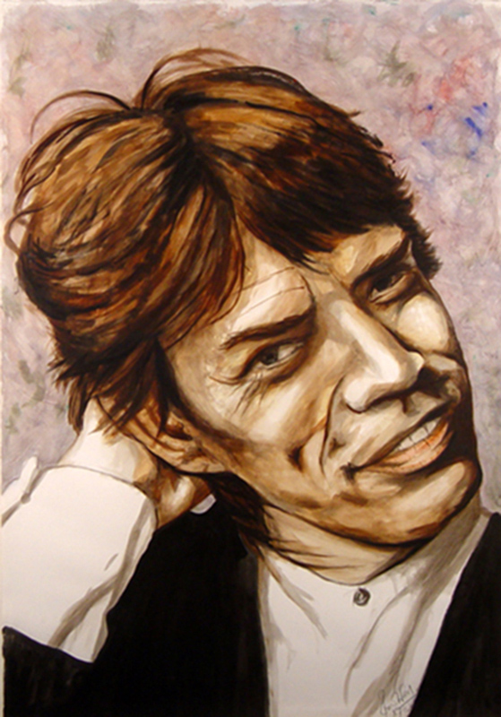 Mick Jagger Watercolor Portrait, c.1986