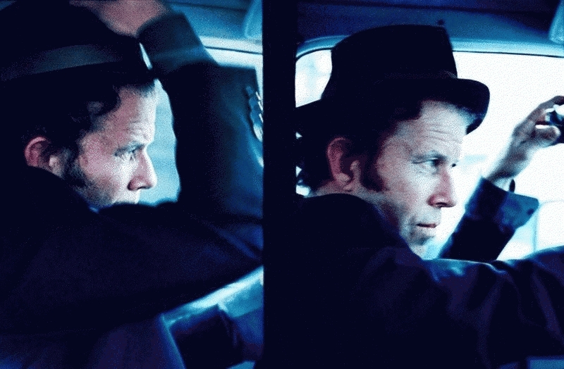 Tom Waits Portraits While Driving Diptych, Sonoma County, CA, 1999
