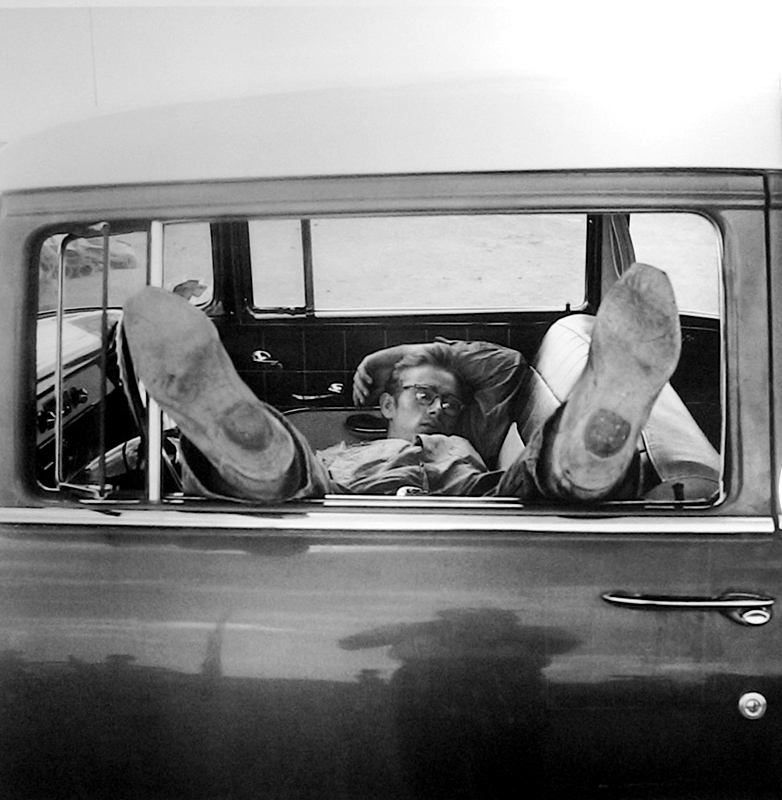James Dean Sleeping in Car on the Set of Giant, Marfa, TX, 1955
