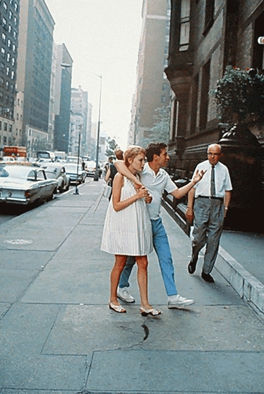 Mia Farrow & John Cassavetes on the Set of Rosemary's Baby, NYC, 1968 (Vertical)