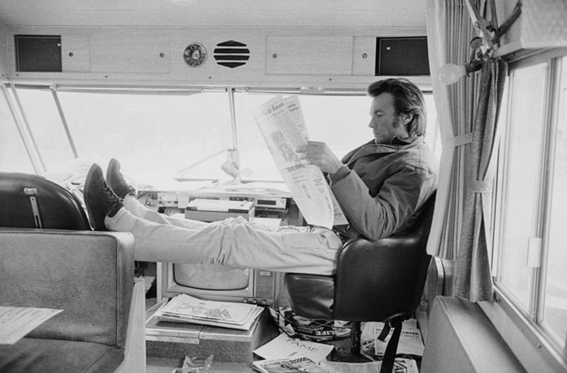Clint Eastwood in His Trailer, on the Set of Joe Kidd, Tucson, AZ, 1971