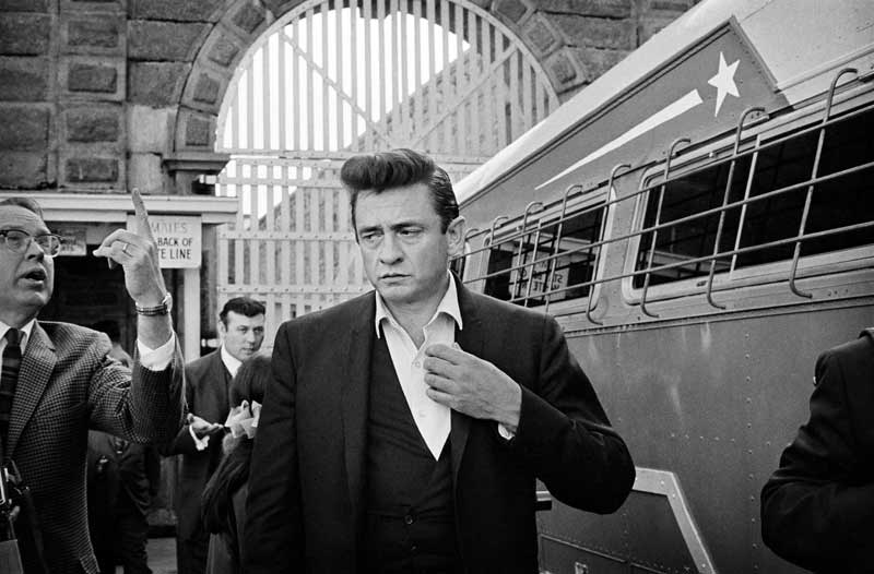 Johnny Cash Arriving Inside Folsom Prison, Folsom, CA 1968