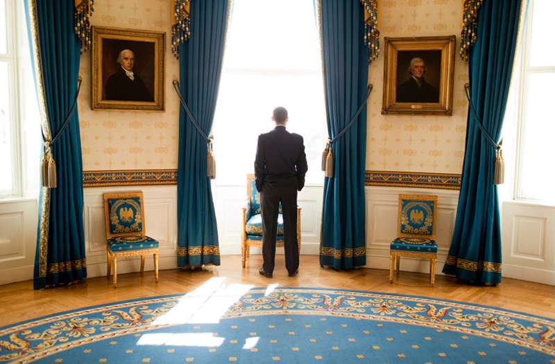 Barack Obama in the Blue Room at The White House, 2008