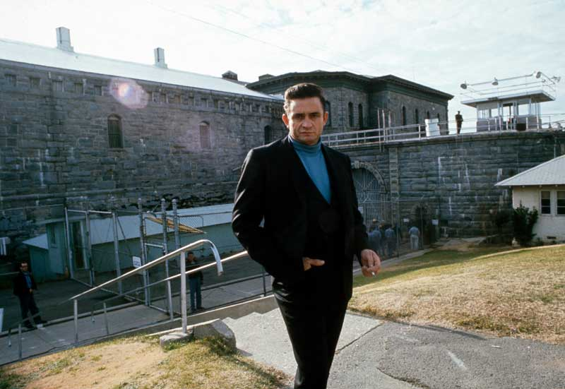 Johnny Cash Outside at Folsom Prison - [Color], Folsom, CA 1968