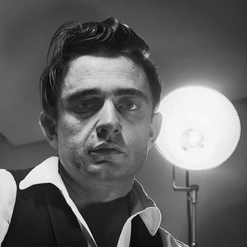 Johnny Cash Portrait with Light Behind, Photo Studio, 1960