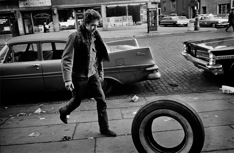 Bob Dylan Rolling Tire, NYC, 1963