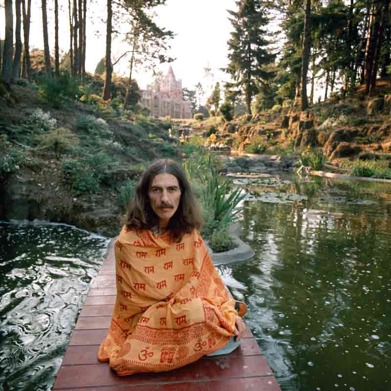 George Harrison in Shawl, Friar Park, Oxfordshire, 1975