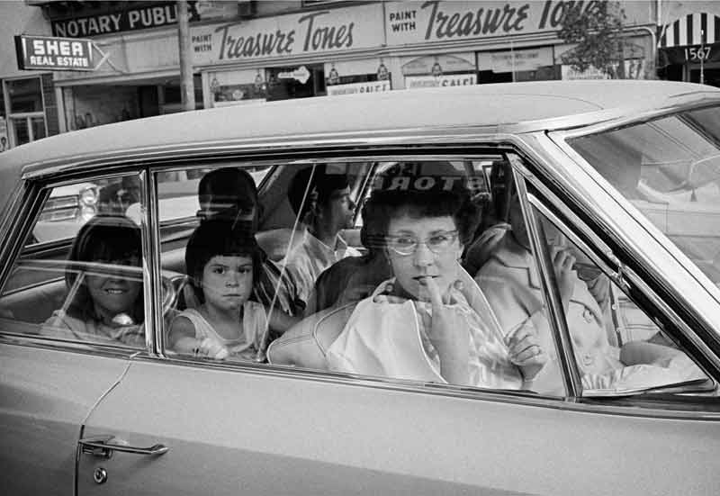 Tourist Family in Car on Haight St Looking at Hippies, Haight Street, San Francisco, 1967